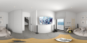 Render panorámico 360 sala de juegos