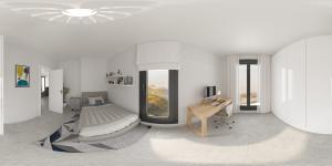 Render panorámico 360 dormitorio niño