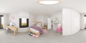 Render panorámico 360 dormitorio niña