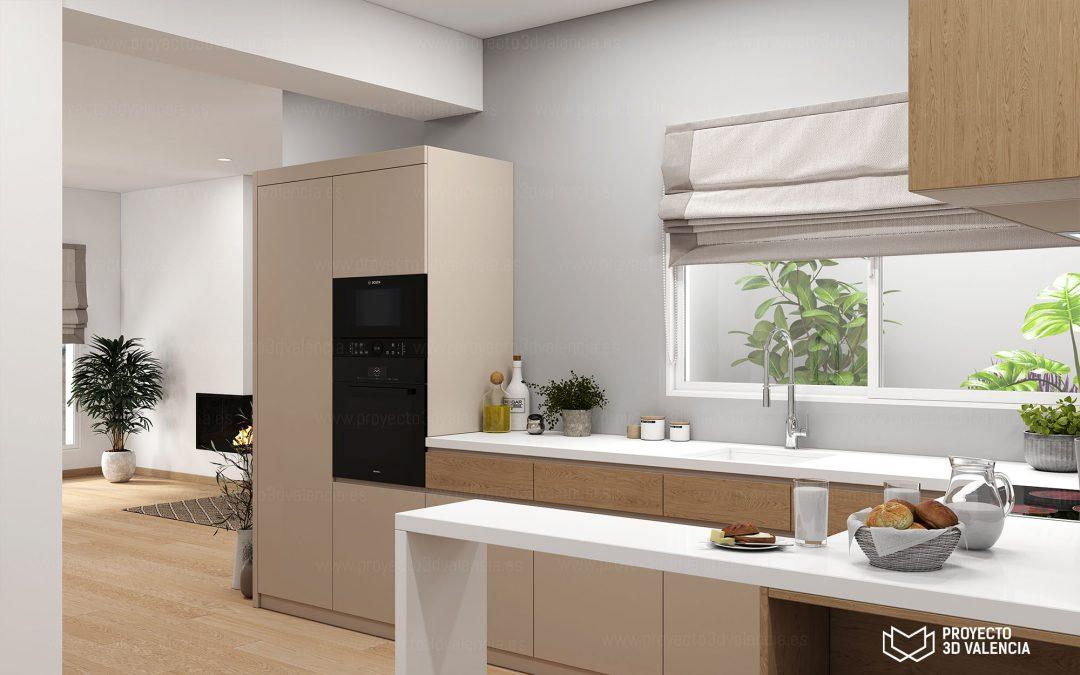 Renders interiores apartamento minimista